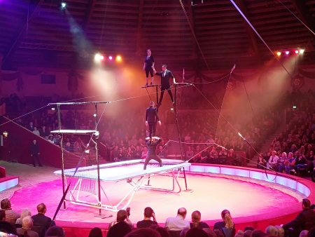 The Hungarian High5 trampoline group performed in the Krone Circus of Munich